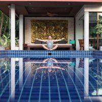 Breathwork by the Main Villa Pool