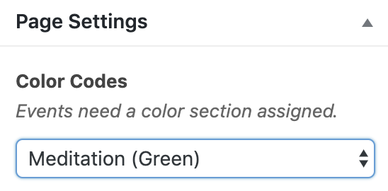 Page Settings menu in WordPress